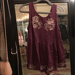 Embroidered romper, purple with open back